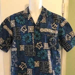 Royal Creations Turtle Surfer Flowers Shirt Large